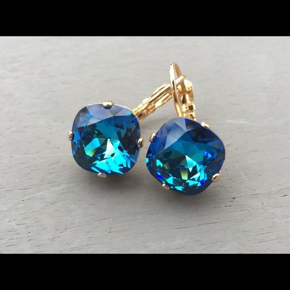 Large Bermuda Blue Swarovski Crystal Earrings